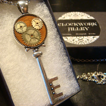 Clockwork Gears Mickey Head Silver Key Necklace- Disney Inspired (1967)