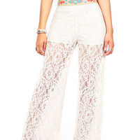 Embroidered Lace Wide Leg Pants