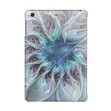 Flourish Abstract Modern Fractal Flower With Blue iPad Mini Cover