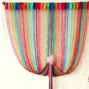 Window Curtain Panel Room Divider Curtain String Line Rainbow Tassel Decor