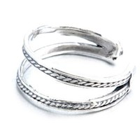 Sterling Silver Double Band Oxidized Toe Ring Adjustable Fit