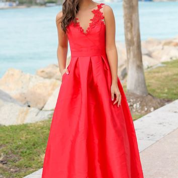 Red Maxi Dress with Embroidered Detail