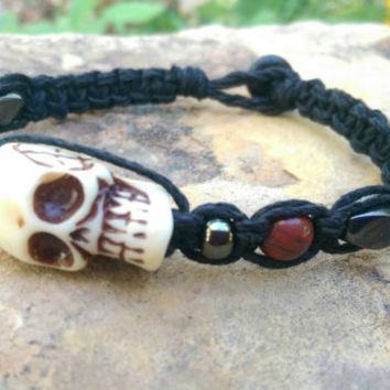 Mens Skull Bracelet, Hemp Bracelet, Large Bone Skull, Mens Bracelet, Skulls, Bloodstone, Gift for Him, Halloween Accessory, Everyday