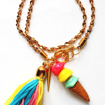 Ice Cream Tassel Gold Cable Wrap Bracelet