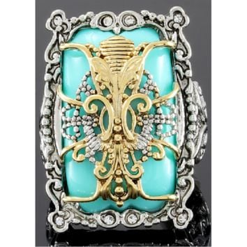 18K White & Yellow Gold Layered Turquoise & White Zircon Ring Size: 9 Tarnish Free