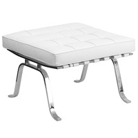 Flash Series White Leather Ottoman