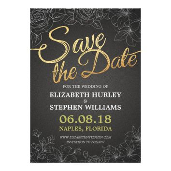 CHIC BLACK & GOLD HANDWRITTEN FLORAL SAVE THE DATE CARD