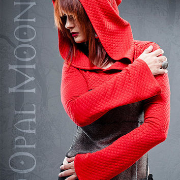 The Quilted Hooded Shrug in Red by Opal Moon Designs (sizes S, L, or XL)
