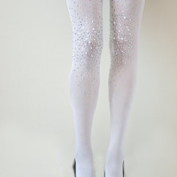 Frost White Bridal Opaque Studded Tights- Bridal Pantyhose- with Rhinestones and pearls