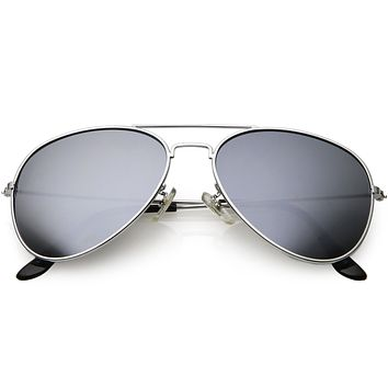 Classic Retro Metal Nickel Finish Mirrored Lens Sunglasses 1476