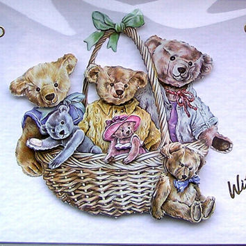 Teddy Bear Hand-Crafted 3D Decoupage Card - With Love (1687)