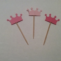 Crown cupcake toppers. Bridal shower Partypicks, Party decor, Baby shower partypicks, Birthday crown cupcake toppers,   12 per order