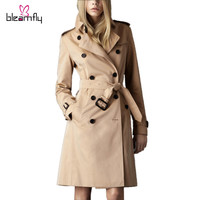 2016 Brand Trench Coat for women Especially Female Slim Long Double-breasted Coats Sping Autumn Winter Windbreaker Outerwear