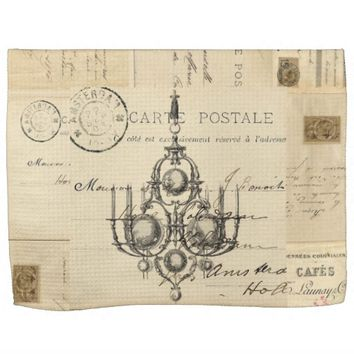 Vintage Chandelier French Postcard Towel