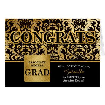 Associate Degree Grad in Faux Gold Foil Card