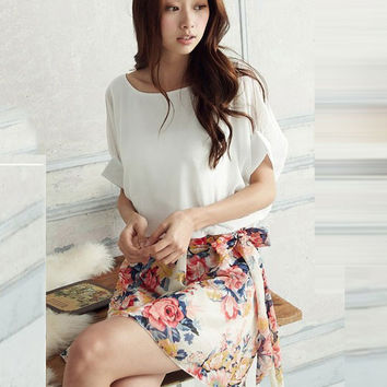 Floral Short Sleeve Blouson Mini Dress