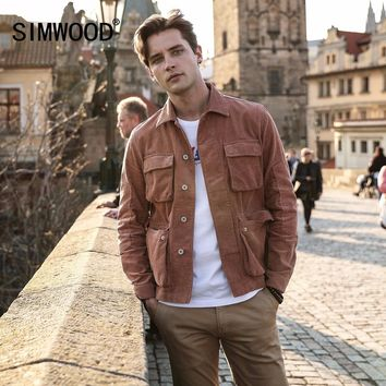 SIMWOOD New 2018 Autumn Jacket Men Casual Fit Corduroy Coats Fashion Brand 100% Pure Cotton Male Outwear Basic Clothing 180274