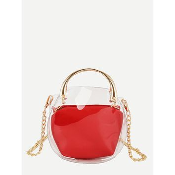 Clear Chain Bag With Inner Clutch Red