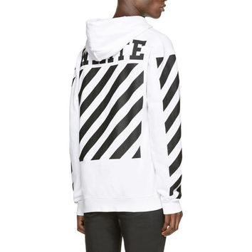 Brand Hoodie Men OFF WHITE Black Striped Print Soft Fleece Sweatshirts Kanye West Hip hop Streetwear Skateboards Pullovers XXXL