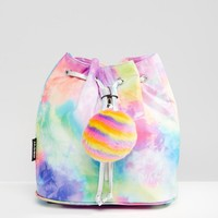 Jaded Rainbow Tie Zip Backpack with Pom