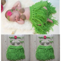 Green girls headdress coconut bra hula grass skirt dress Sets newborn Baby infant princess Girl boy Costume Beanie photography photo Props Crochet Clothing SetS knitted caps hats fit baby 0-6month (Size: 0-6m, Color: Green)