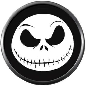 Spooky Jack Face On Black Halloween Town Nightmare Before Christmas Jack Skellington 18MM - 20MM Charm for Snap Jewelry New Item