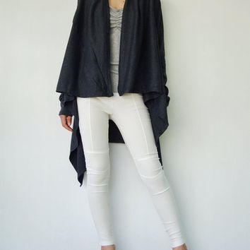 NO.61  Dark Bluish Grey Cotton-Blend Jersey Versatility Cardigan, Wrap Top