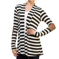 Charcoal & White Stripe Elbow-Patch Cardigan