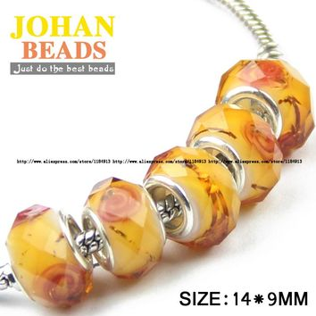 JHNBY European Beads Orange Big Hole crystal Bead 10pcs Fashion Charms Round Loose beads Braclets Jewelry accessories making DIY