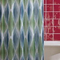 Ombre Watercolor Diamonds Jacquard Fabric Shower Curtain