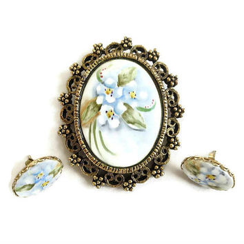 Hand Painted Ceramic Porcelain Floral Cameo Brooch and Earrings Set Vintage Forget Me Not