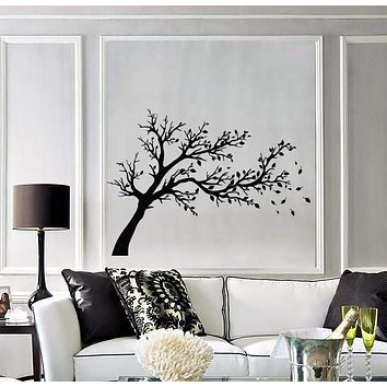 Vinyl Decal Wall Stickers Tree Branch Wind Fall Leafs Floral Decor (z1610)