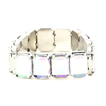 Aurora Borealis Crystal Stretch Bracelet Cuff BA48 Fashion Jewelry