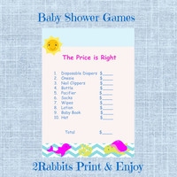 Under the Sea Girl Baby Shower -The Price is Right-Printable Baby Shower Game-Instant Digital Download Printable-Pink Dolphin - Sea Turtle