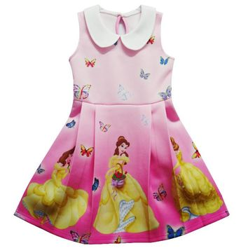 Children Girl Princess Dress Cartoon Beauty And The Beast Costume Girl Birthday Party Dress Princess Belle Lapel Pleated Dress