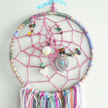Dream Catcher- DreamCatcher- Unicorn- Wall Decor- Wall Accent- Turquoise Bohemian decor- Boho Decor- Home Decor- Hippie- Gypsy- Fringe- Art