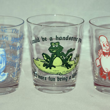 Vintage Glassware-Barware-The C.M. Paula Co.-Humorous Barware-Set of 3-1976