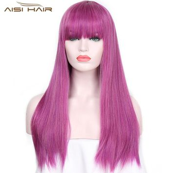 I's a wig 24 inches Long Synthetic Wigs Purple With Bang Wig for  Women  Straight Hair Can Be Cosplay