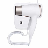 1300W Wall Mounted Hair Dryer With USB Socket