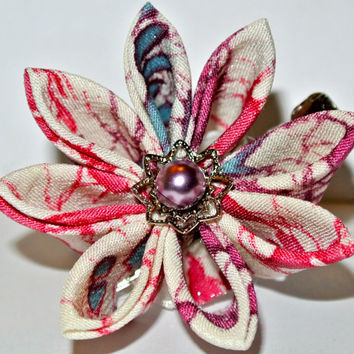 White, purple, pink and blue kimono fabric kanzashi hair flower clip