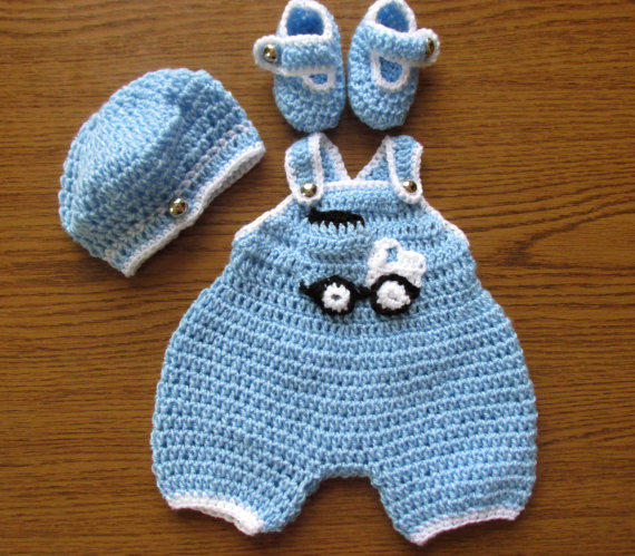 Crochet Baby Outfit Pattern : Baby Boy Coming Home Outfit, Newborn from paintcrochet Etsy