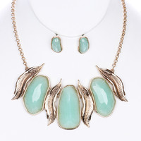 Leaf Chain Lucite Stone Earring & Necklace Set