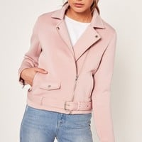 Missguided - Pink Neoprene Biker Jacket