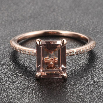 14K Rose Gold 6x8mm Emerald Cut Morganite Engagement Ring, Same Day Shipping