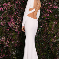 White Sexy Hollow-out Long Sleeves Party Prom Dress