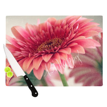 "Robin Dickinson ""Be Happy"" Pink Floral Cutting Board"