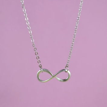 Forever Love: Infinity Necklace, Rhodium Plated Brass, Delicate Chain, Everyday Wear, Perfect Gift