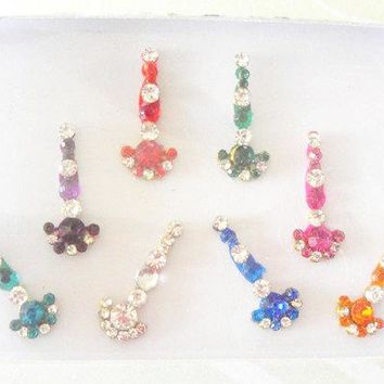 8 Long Crystal designer bindis stud third eye chakra,Multicolored bollywood face jewels,forehead decoration,Tattoos,Blue red Silver bindi
