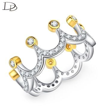 DODO Gold Color Crown Shaped Rings for Women Popular Princess Queen Anel Chic AAA Cubic Zircon Jewelry Crystal Bijoux RA063
