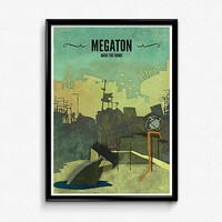 Megaton // Fallout 3 Poster, Fallout Print, Video Game Art, Gamer Print, Fallout Art, Game Decor
